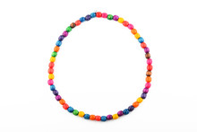 Colorful Handmade Wooden Painted Beads Necklace Isolated On Whit