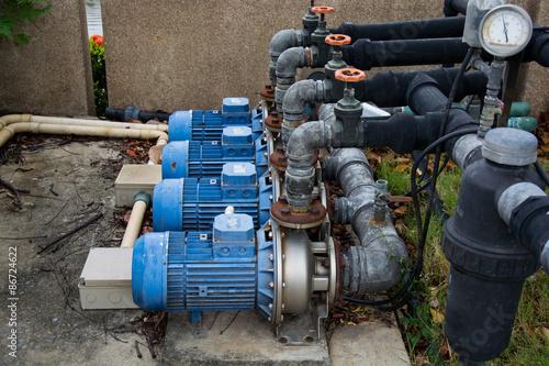Staande foto Industrial geb. motor pump water
