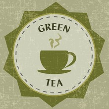 GREEN TEA VINTAGE LABEL BACKGR...