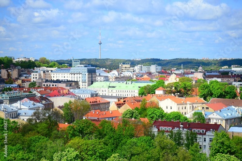 Fotografia  View from Gediminas castle to the old Vilnius