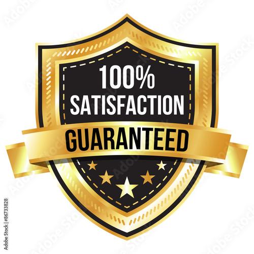 Fotografía  Gold 100% Satisfaction Guaranteed Shield and Ribbon