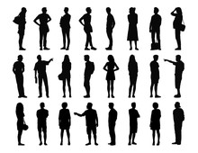 Big Set Of Men And Women Standing Silhouettes 3