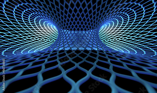 Fotobehang - blue circle grid