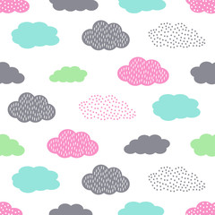 FototapetaColorful seamless pattern with clouds for kids holidays. Cute baby shower vector background. Child drawing style illustration.