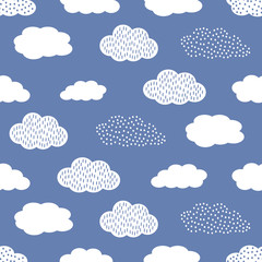 Fototapeta Niebo Seamless pattern with white clouds on blue background.