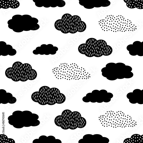 Tela  Black and white seamless pattern with clouds