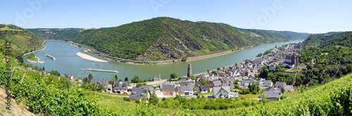 Rhine River in Germany at the City Oberwesel - Panorama View