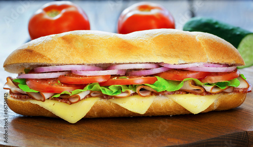 Staande foto Snack Ham and Cheese Sandwich