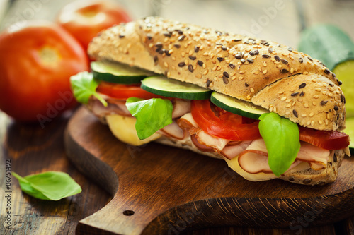 Spoed Foto op Canvas Snack Ham and Cheese Sandwich