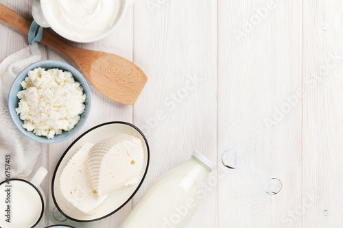 Poster Produit laitier Sour cream, milk, cheese and yogurt