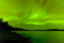 Northern Lights Sky Frozen Lake Laberge Yukon