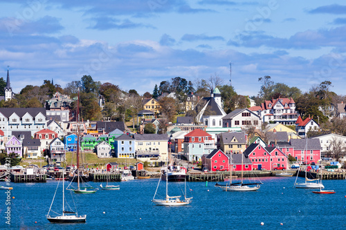 Photo sur Toile Canada Historic Lunenburg harbor Nova Scotia NS Canada