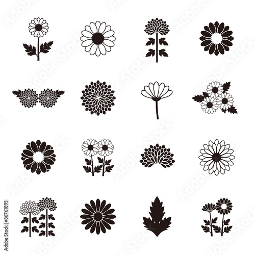 Canvastavla Chrysanthemum Daisy Marguerite icon set