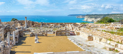 Poster Ruine Panoramic view of Kourion archaeological site. Limassol District