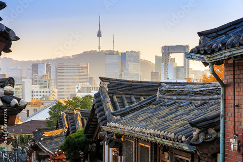 Poster de jardin Seoul The Bukchon Hanok historic district