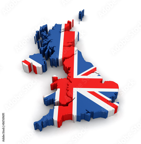 Fotografie, Obraz  Map of United Kingdom. Image with clipping path.