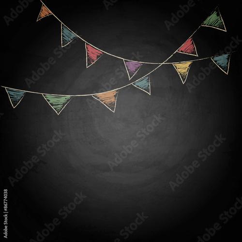 Obraz na płótnie Chalkboard background with drawing bunting flags