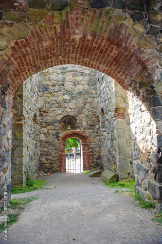 Photo  Interior of the ruins of the St Olofs church in the Sigtuna town, Sweden