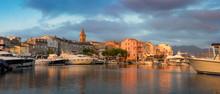 Panorama Of Beautiful Saint Florent Town And Harbour, Corsica