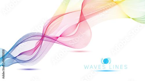 rainbow waves colorful gradient light blend line vector curves Canvas Print