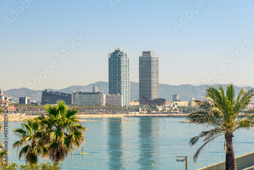 View from Barceloneta to Port Olimpic in Barcelona Canvas Print