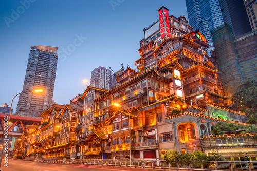 Foto op Plexiglas Temple Chongqing China at the Hongyadong Traditional Buildings
