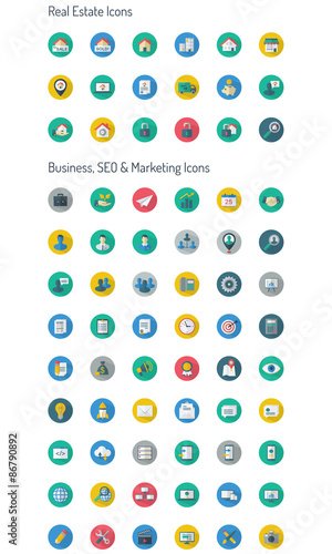 Long Shadow Full Icon Set- Real Estate & Business, CEO, Marketing icons