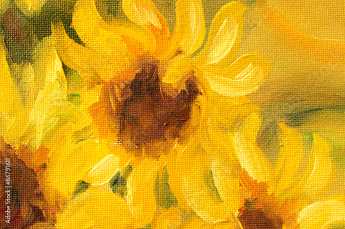 Juliste  Sunny Sunflowers  Oil painting on canvas.