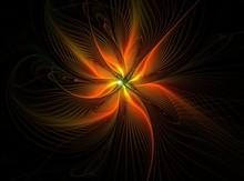 Orange Fractal Flower, Computer-generated Image, Digital Artwork For Creative Graphic Design