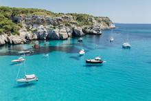 Stunning View Of Macarella Bay And Azure Sea Water, Menorca, Bal