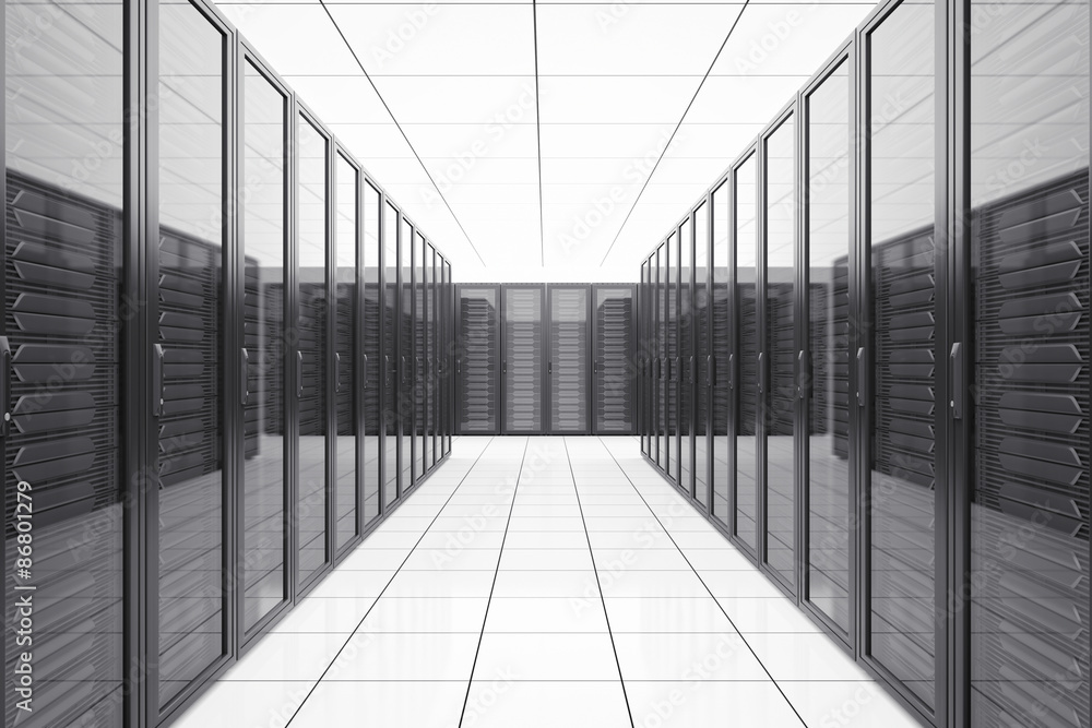 Fototapeta Data center with network servers in futuristic room.