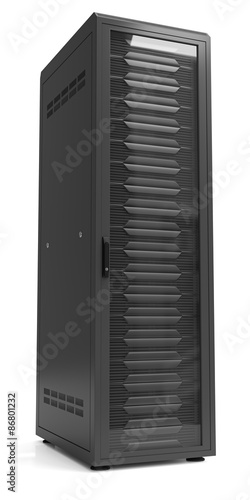 Cuadros en Lienzo Network server racks in server cabinet isolated on white.