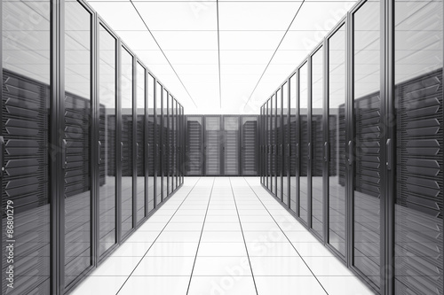 Fototapeta Data center with network servers in futuristic room. obraz