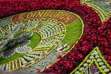 Clock Made Of Flowers At Princes Streets Gardens, Edinburgh, Scotland. UK.