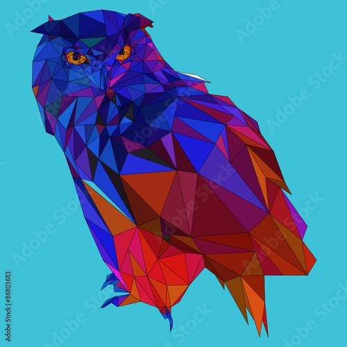 Fotografie, Obraz Owl triangle low poly style