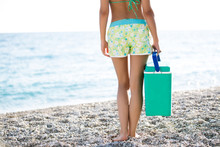 Fit Woman Carrying Cooler Box,...