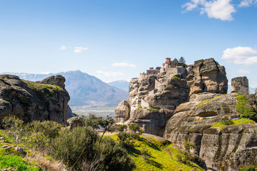 Fototapeta na wymiar Holy Monastery of Varlaam in Meteora mountains, Thessaly, Greece.  UNESCO World Heritage List