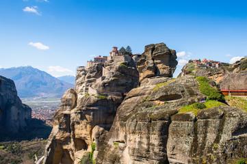 Fototapeta na wymiar Monastery complex in Meteora mountains, Thessaly, Greece.  UNESCO World Heritage List