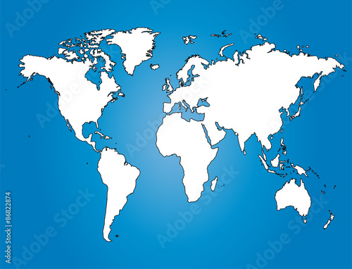 Water World Map white Illustration with largest cities - Buy this ...