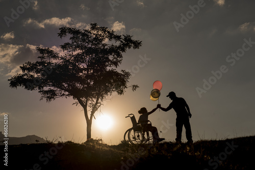 engelli çocuk ve kardeş sevgisi Canvas Print