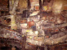 Acrylic Colorful Painting In Old Gold, Brown, Beige, Yellow And Orange Colors. Canvas. Grunge Textured Background. Abstract Painting Noahs Ark. Picture For The Interior, As Part Of Wall Decorations.