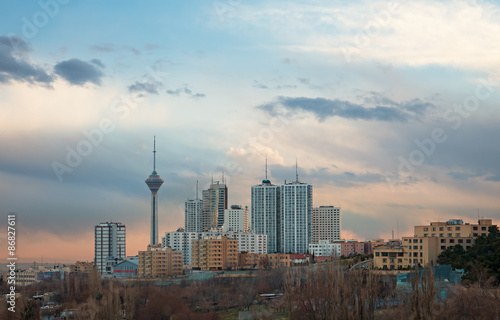 Milad Tower among High Rise Building in the Skyline of Tehran