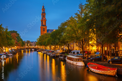 Ingelijste posters Amsterdam Western church in Amsterdam