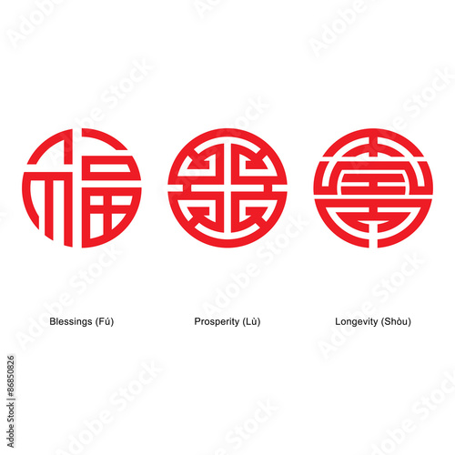 Chinese Lucky Symbols Fu Lu Shou Buy This Stock Vector And Explore