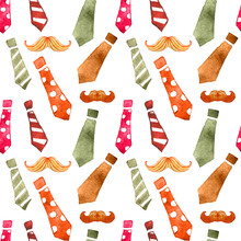 Watercolor Seamless With Tie And Mustaches, Color Pattern Father Day Mustache Pattern Mustaches Texture.
