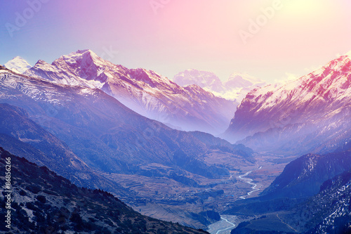 Poster de jardin Montagne sunrise in the mountains
