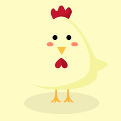 Obraz Editable vector illustration of a cute chicken standing in similar background