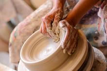 Woman Potter Hands Crafts