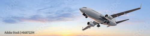 Photo Modern Passenger airplane flight in sunset panorama