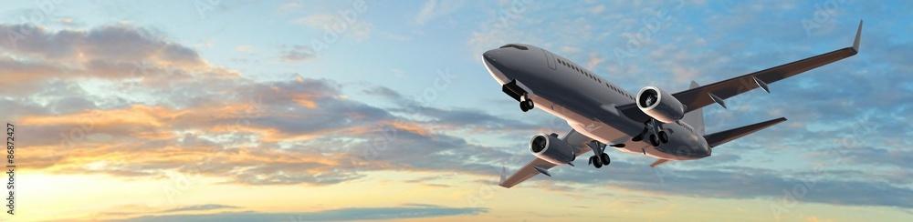 Fototapety, obrazy: Modern Passenger airplane flight in sunset panorama